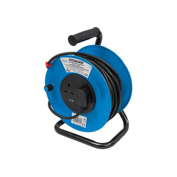 Silverline Free-Standing Cable Reel, 2 Sockets, 13 A, 25 m Image 1