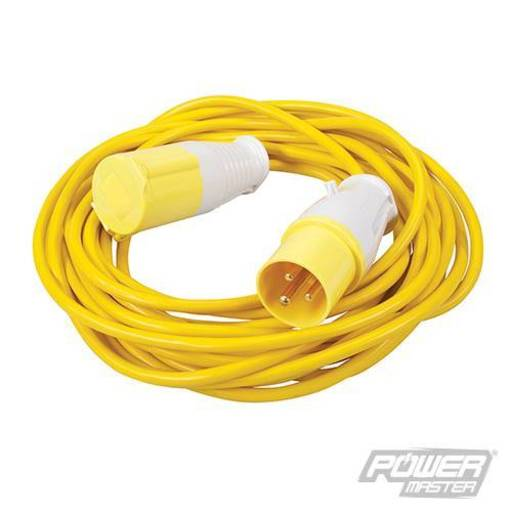 Extension Lead 16 A, 110V, 10 m, 3 pin, Yellow Image 1