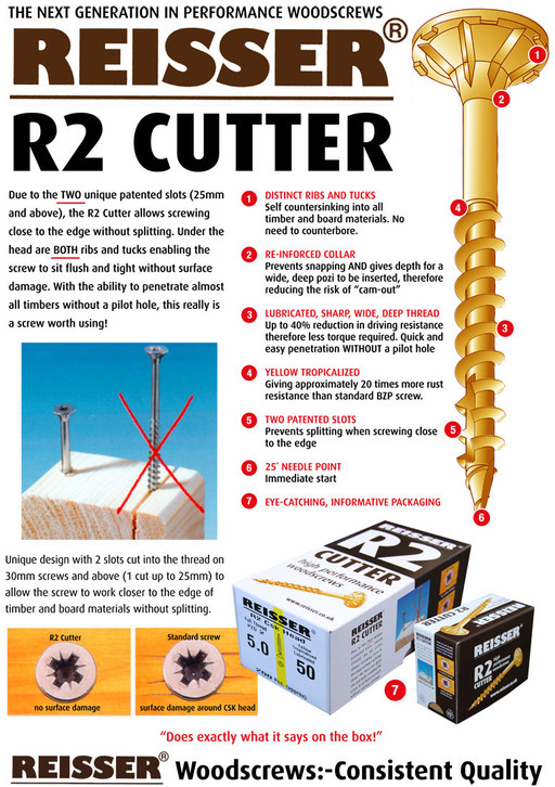 Reisser R2 Cutter Screw, 4.0x80 mm, pack of 200 Image 2