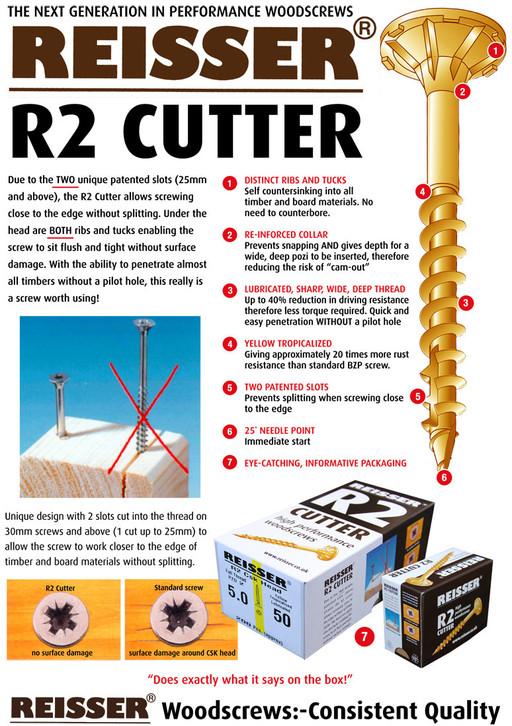 Reisser R2 Cutter Screw, 6.0x120 mm, pack of 100 Image 2