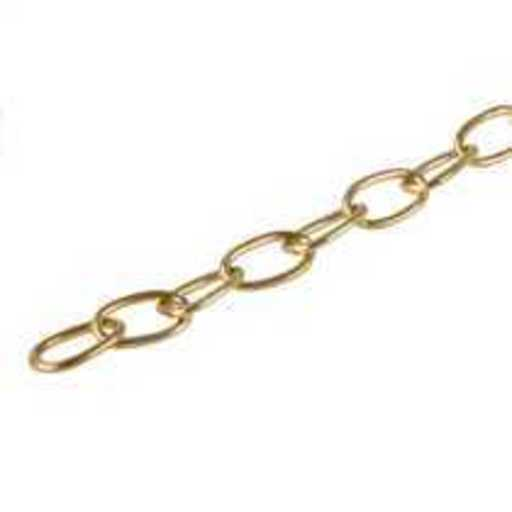 Oval Link Chain, Brass Polished, 1.5 m Image 1