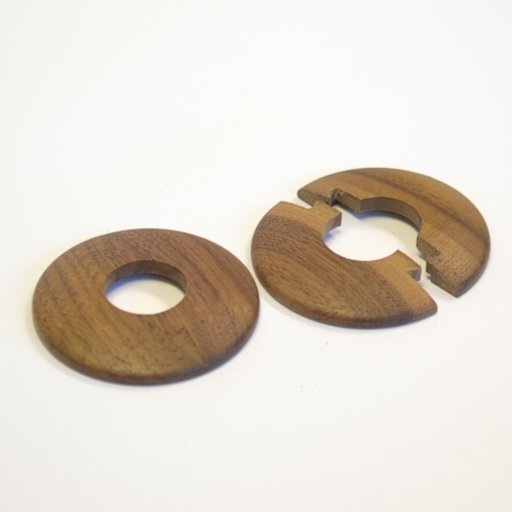 Solid Oak Pipe Surrounds (Pipe Ferrule) Walnut Stained, Lacquered, 16 mm, Pair Image 1