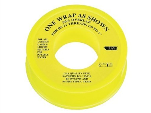 PTFE Gas Tape, White, 13 mm x 5 m