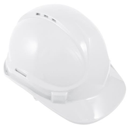 White 6 Point Harness Safety Helmet
