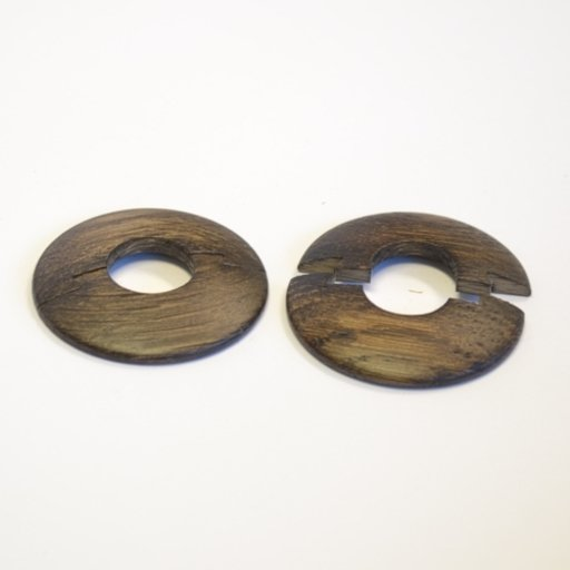 Solid Dark Oak Pipe Surrounds (Pipe Ferrule) Lacquered, 16 mm, Pair